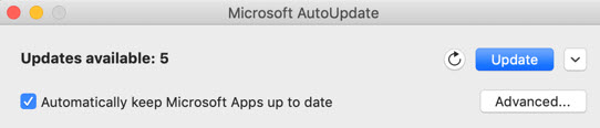 Microsoft AutoUpdate window when updates are available.