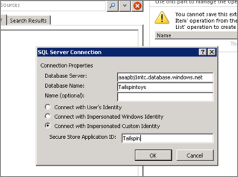 Screenshot of the SQL Server Connection dialog where you can fill in the name of your SQL Azure database server and use Connect with Impersonated Custom ID to enter your Secure Store Application ID.