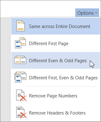 Different Even & Odd Pages option