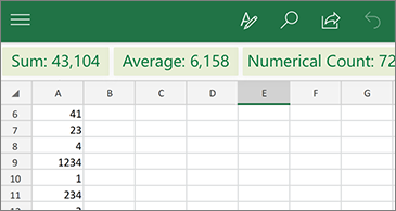 Worskheet with common function available above the column  header row