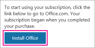 Install Office button on the My Office Account page.