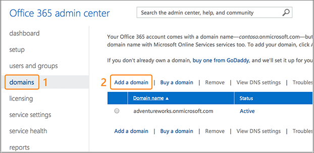 Screenshot showing where to add a domain for Office 365