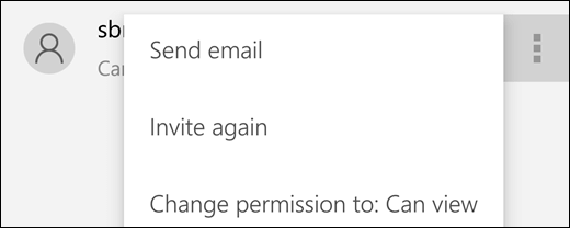 The Manage User options let you resend an invite or change a user's access to the file.