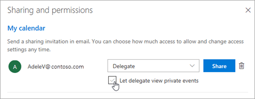 A screenshot of the Let delegate view private events check box