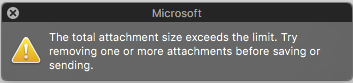 Error message when attachment is too large to send