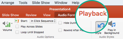 When an audio clip is selected on a slide, a Playback tab appears on the toolbar ribbon for setting playback options.