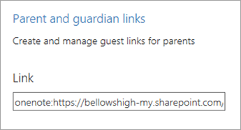 Parent and guardian links hyperlink in Manage Notebooks.