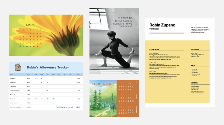 calendars, a resume, and a poster