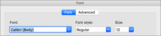 Font selection in dialog