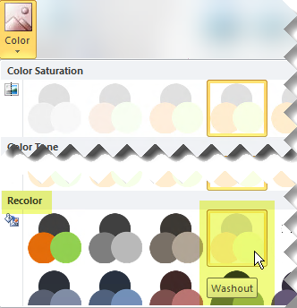Click the Color button, and then under Recolor select Washout