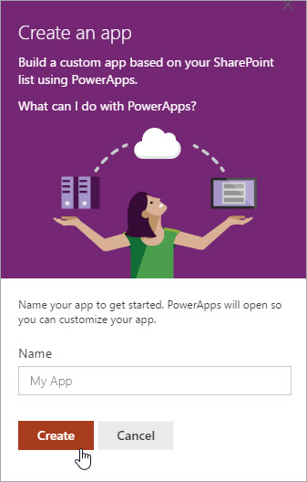 Providing a name for the PowerApp and then clicking Create.