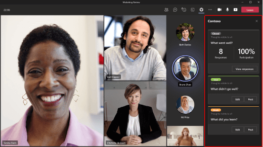 Image shows how to use an app in the in-meeting tab on desktop.