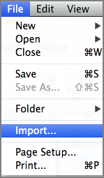 Import from File menu