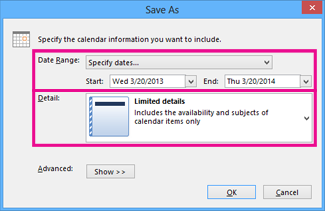 save calendar - choose details
