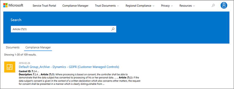 Service Trust Portal - Search on Compliance Manager Controls