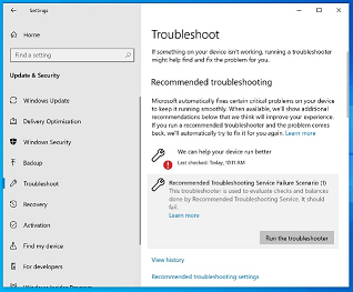 Troubleshooters in Settings