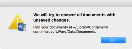 """We will try to recover all documents with unsaved changes"""