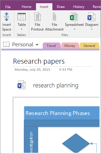 Screenshot of how to add an existing Visio diagram into OneNote 2016.