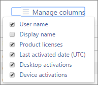 Office 365 Reports - Office activations available columns