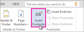 insert footnote in Word Online