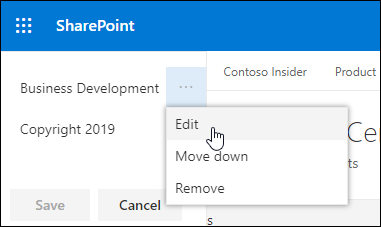Edit existing link or label in a footer on a SharePoint communication site.