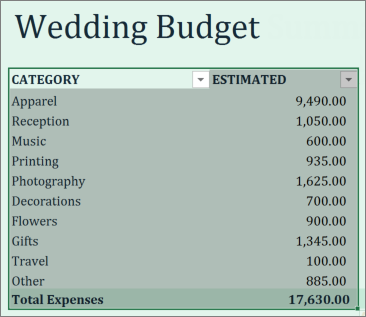Excel select data range