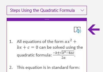 Immersive Reader icon in the Math pane in OneNote for Windows 10