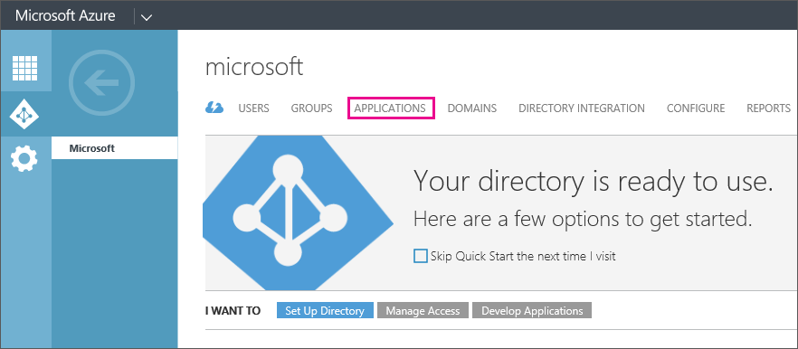 Shows the Azure AD menu with APPLICATIONS selected.