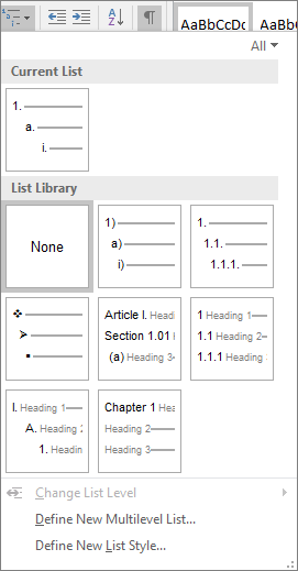 Choose the Multilevel List button to add numbering to a built-in heading style, for example, Heading 1, in your document heading.