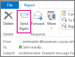 Send again button in the Outlook report tab