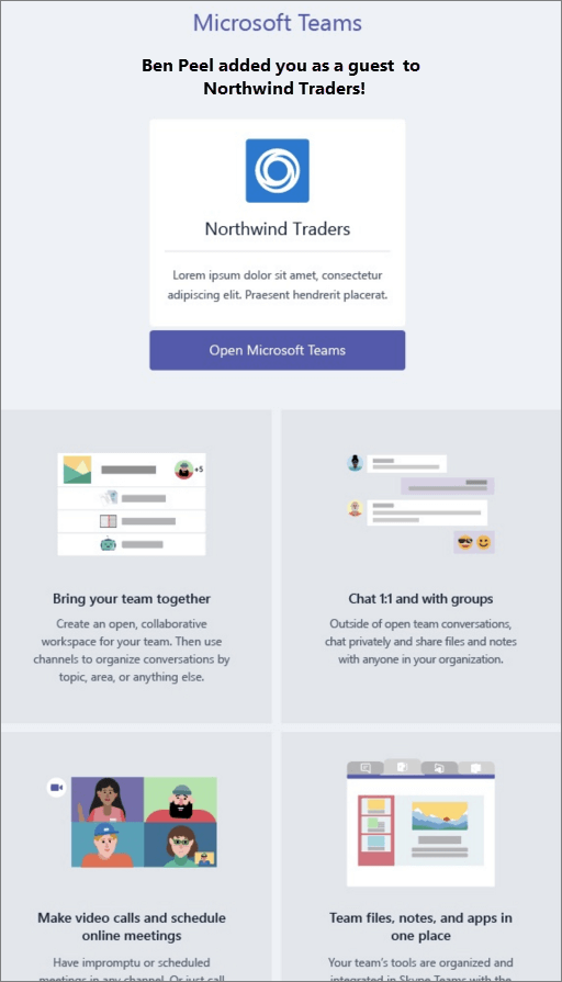 Screenshot shows an example of a welcome email message sent by a team owner in Microsoft Teams to a guest user. The message includes text that can be customized by the team owner and brief descriptions of Teams features like chat, calls, and meetings.