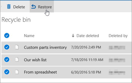 Recycle bin with Restore highlighted