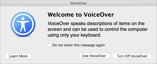 Turn VoiceOver on or off