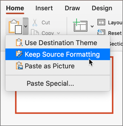 Paste and keep source formatting