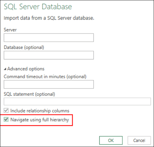 Excel Power BI improved relational database connectors