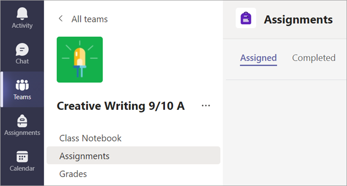 Select the Assignments tab to view your assignments in one class.