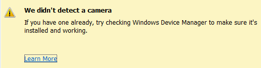 Screenshot of camera not being detected