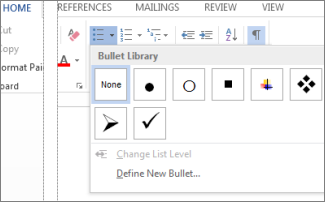 Bullet Library opened from Bullets button in the Paragraph group on the Home page
