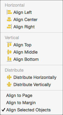 To align objects relative to one another, select Align Selected Objects.