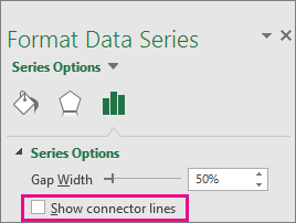 Format Data Point task pane with the Show Connector Lines box unchecked in Office 2016