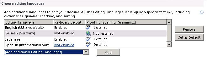 Choose Editing Languages