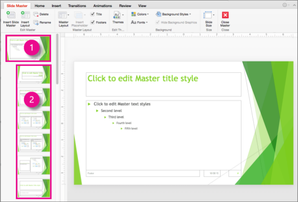 Slide master and slide layouts