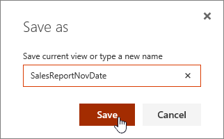 SharePoint Online View Save as dialog
