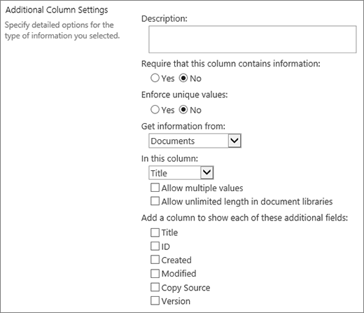 Lookup column choice dialog