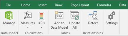Power Pivot menu on the Excel Ribbon
