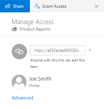 Manage Access Pane