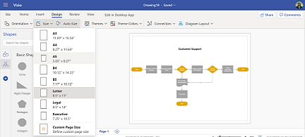 Choose a page size in Visio