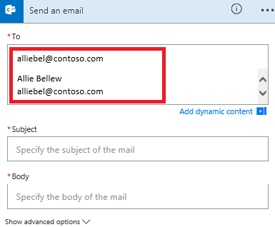 Screenshot: Select your email from the list