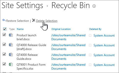 SharePoint 2013 2nd level recycle with all items selected and delete button highlighted