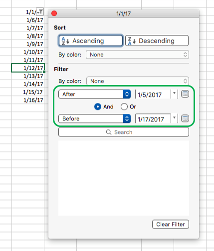 Excel for Mac filter date values